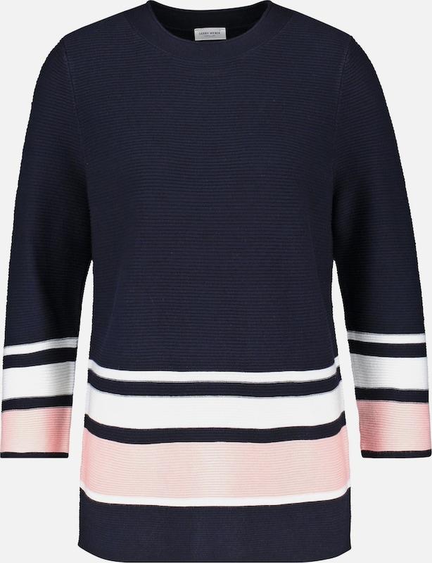 GERRY WEBER Pullover in kobaltblau   puder   weiß  Bequem und günstig