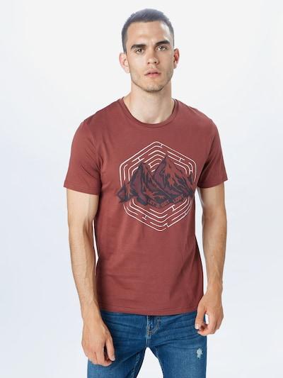 ARMEDANGELS T-Shirt 'JAAMES' in anthrazit / weinrot / weiß: Frontalansicht