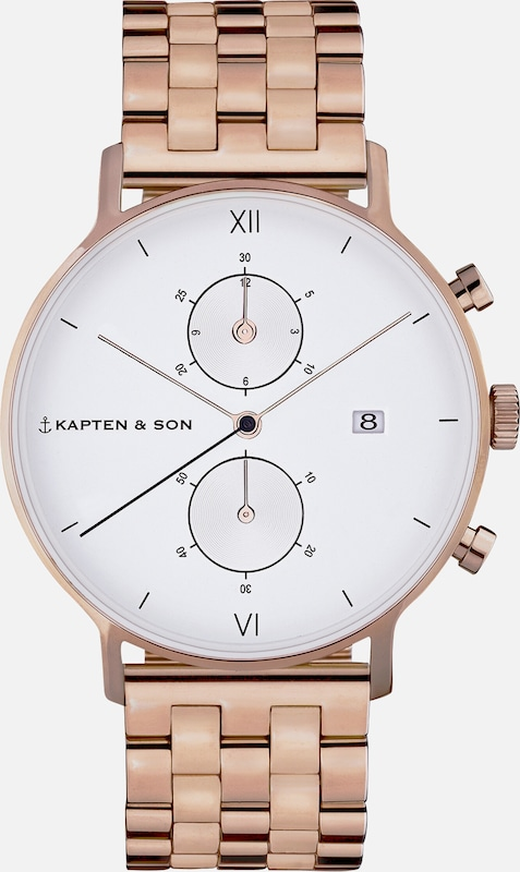 Kapten & Son Uhr 'Small Chrono Steel' in bronze, Produktansicht