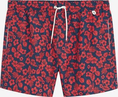 MANGO MAN Badehose 'Hibiscus' in dunkelblau / rot, Produktansicht