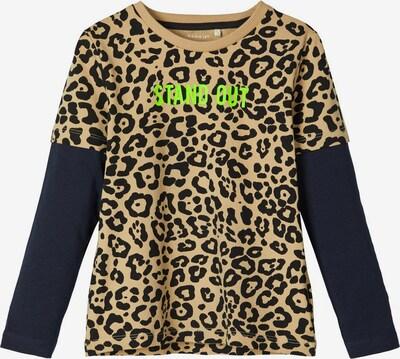 NAME IT Shirt in hellbeige / nachtblau / neongrün / schwarz, Produktansicht