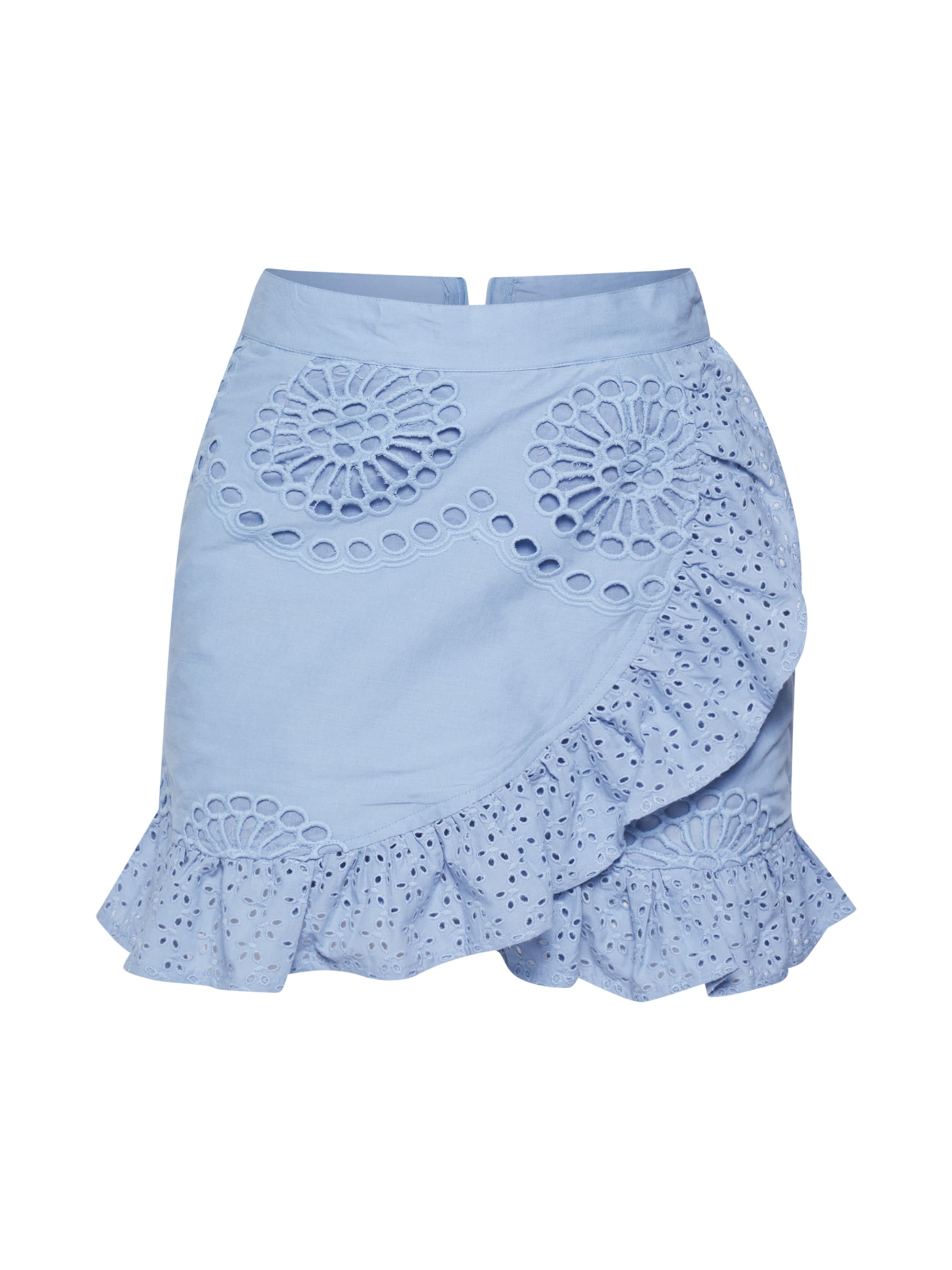 Missguided Rock Frill In Double Skirt' Layer 'broderie Blau Mini Anglais zUVpSMq