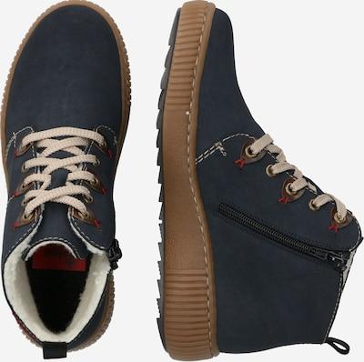 Suvarstomieji kulkšnis dengiantys batai iš RIEKER , spalva - tamsiai mėlyna: Vaizdas iš šono