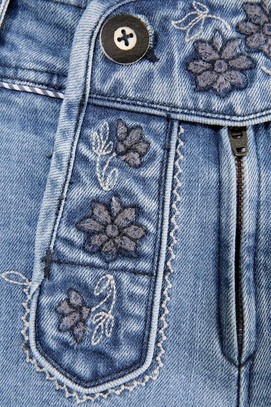 SPIETH & & & WENSKY 3 4-lange Trachtenhose Damen mit Blütenstickerei in Blau denim  Bequem und günstig 91ff21