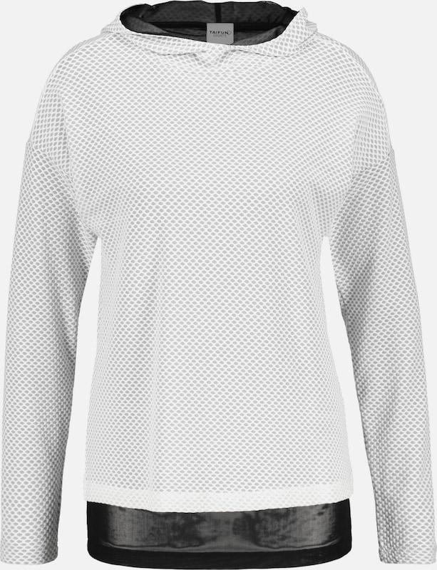 TAIFUN T-Shirt 2-in-1 Hoodie aus Mesh in schwarz   weiß  Markenkleidung für Männer und Frauen