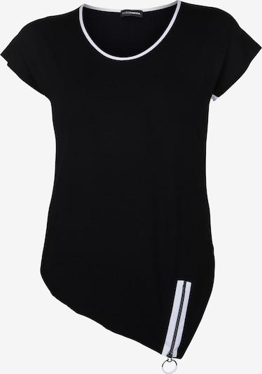 Doris Streich Shirt mit Zipper am Saum in schwarz / weiß, Produktansicht