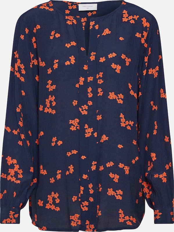 Freequent Bluse 'FQTADNEY-BL' in navy / orange: Frontalansicht