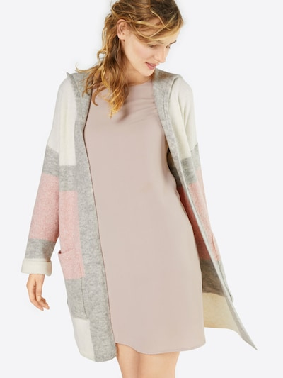Mavi Cardigan 'STRIPE' in hellgrau / rosa / offwhite, Modelansicht
