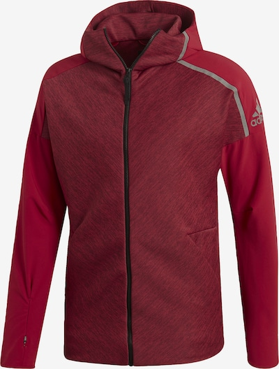 ADIDAS PERFORMANCE Sweatjacke in rot / blutrot: Frontalansicht