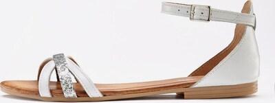 LASCANA Sandale in hellbeige / silber / naturweiß: Frontalansicht