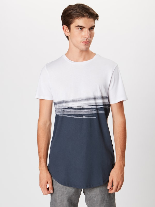 TOM TAILOR DENIM T-shirt in blau / weiß: Frontalansicht