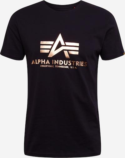 ALPHA INDUSTRIES Camiseta 'Basic T Foil Print' en oro / negro, Vista del producto