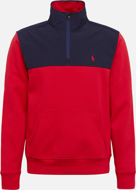 POLO RALPH LAUREN Sweatshirt 'LSHZMOCKM5-LONG SLEEVE-KNIT' in navy / rot, Produktansicht