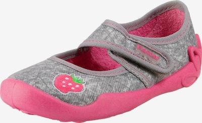 Fischer-Markenschuh Hausschuhe , Erbeere in grau / pink, Produktansicht