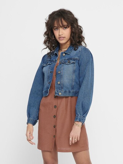 ONLY Cropped Jeansjacke in blau: Frontalansicht