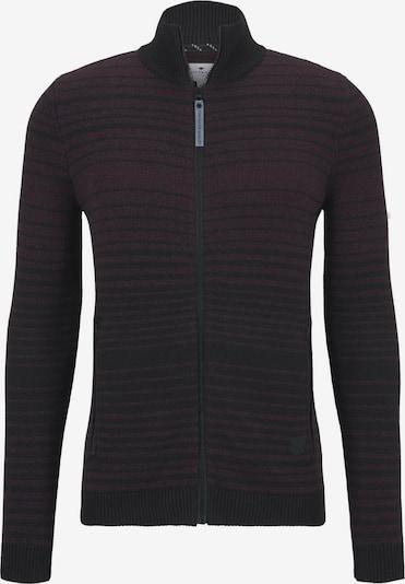 TOM TAILOR Pullover & Strickjacken gestreifte Strickjacke in dunkelrot / schwarz, Produktansicht