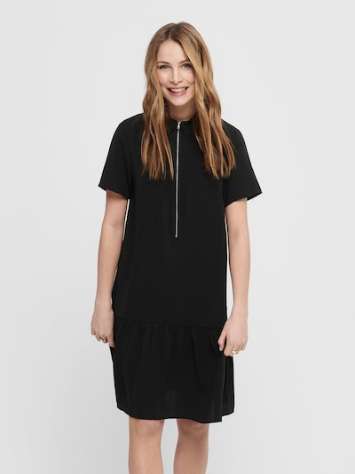 ONLY Kleid 'ONLRANONA S/S ZIP DRESS WVN' in schwarz, Modelansicht