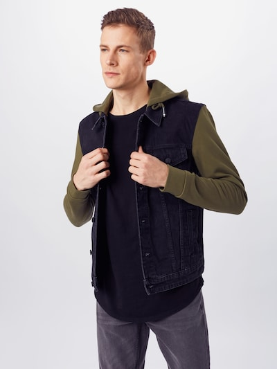 Only & Sons Jacke in dunkelgrün / black denim: Frontalansicht