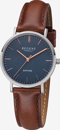 REGENT Uhr in kobaltblau / braun / silber, Produktansicht