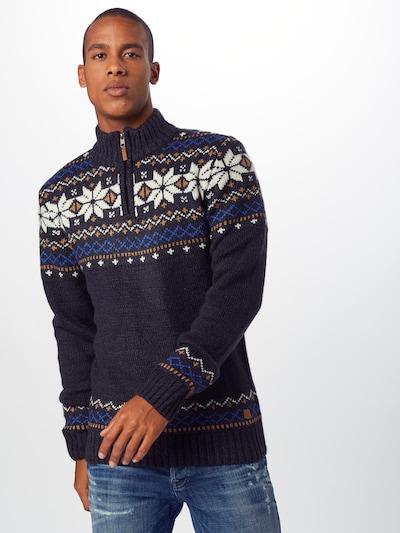 BLEND Džemperis pieejami kamuflāžas / karaliski zils / zeltaini dzeltens / balts: Priekšējais skats