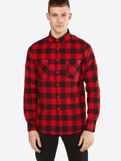 Urban Classics Hemd 'Checked Flanell' in rot / schwarz: Frontalansicht