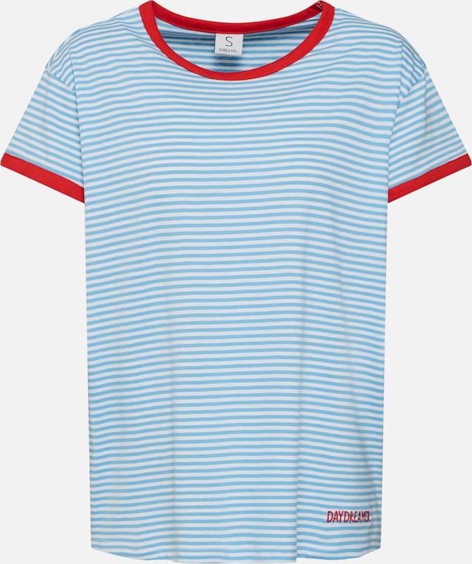 T Blanc 'striped BleuRouge Sublevel En T shirt shirt' lKFJcT13