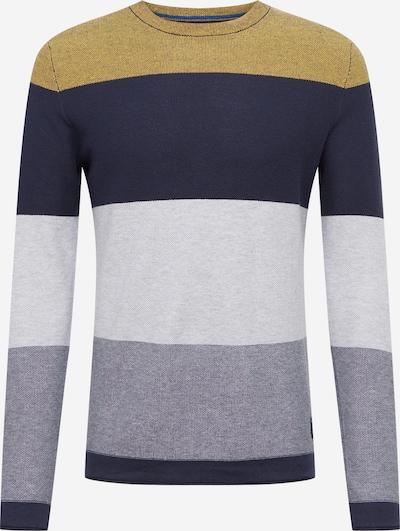 JACK & JONES Pullover 'Flame' in marine / senf / graumeliert / weiß, Produktansicht