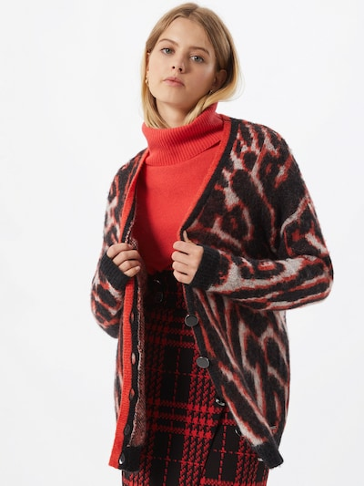 GUESS Strickjacke 'Holly' in rot / schwarz / weiß, Modelansicht