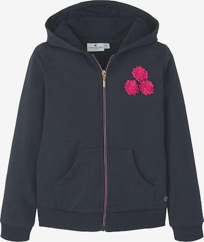 TOM TAILOR Strick & Sweatshirts Sweatjacke mit Blumen-Verzierung in dunkelblau, Produktansicht
