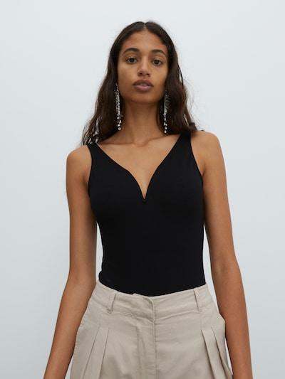 EDITED Shirt Bodysuit 'Daliah' in Black: Frontal view