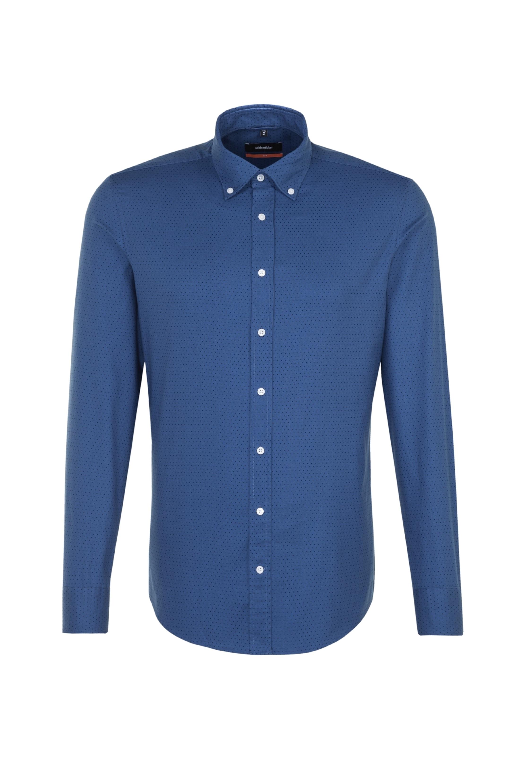 'slim' Hemd In RoyalblauSchwarz Seidensticker Business O8wknP0X