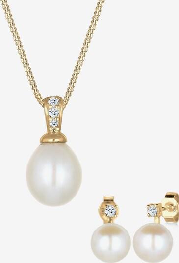 Diamore Schmuckset in gold / perlweiß, Produktansicht