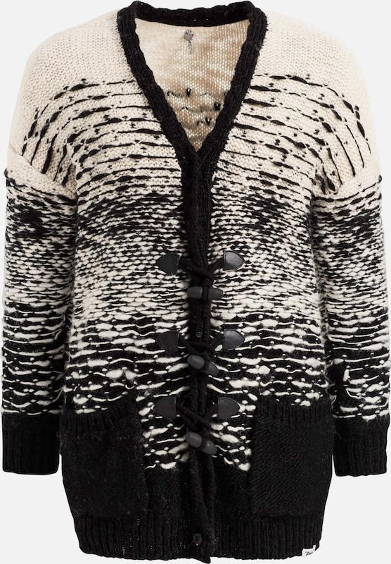 khujo Gebreid vest 'CLAIRE' in Grijs Donkergrijs Zwart