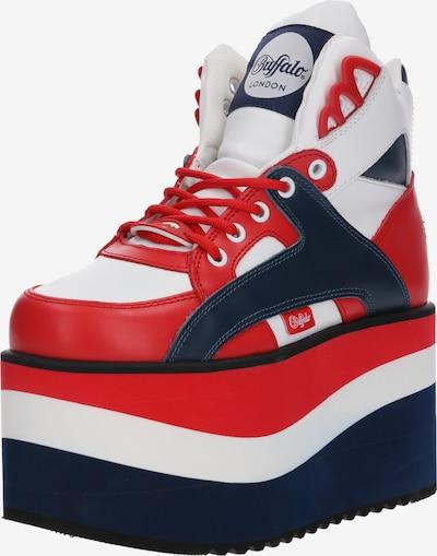 Buffalo London Sneaker mit hohem Plateau in navy / rot / weiß, Produktansicht