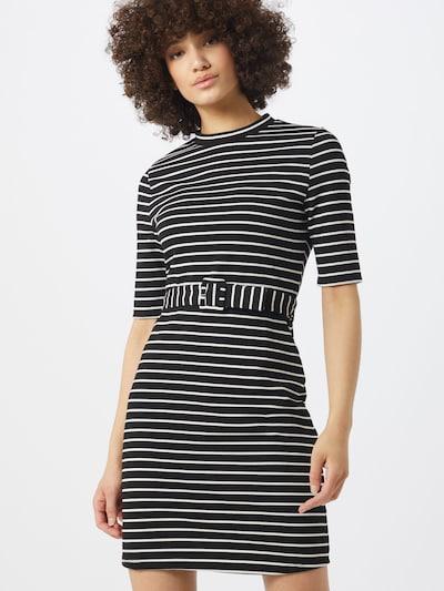 ONLY Kleid 'ONLFRIDA 3/4 BELTED DRESS SWT' in schwarz / weiß, Modelansicht