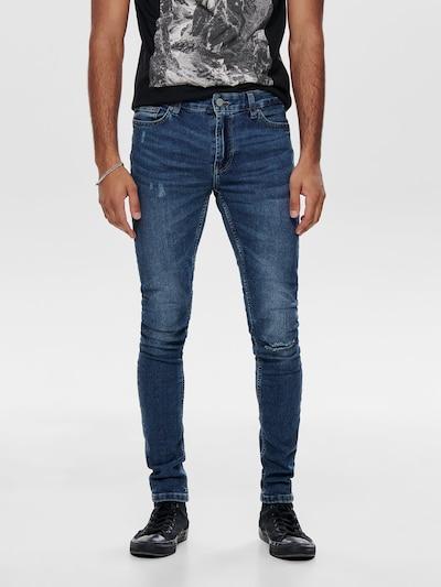 Jeans 'Extreme Warp' Only & Sons pe denim albastru: Privire frontală