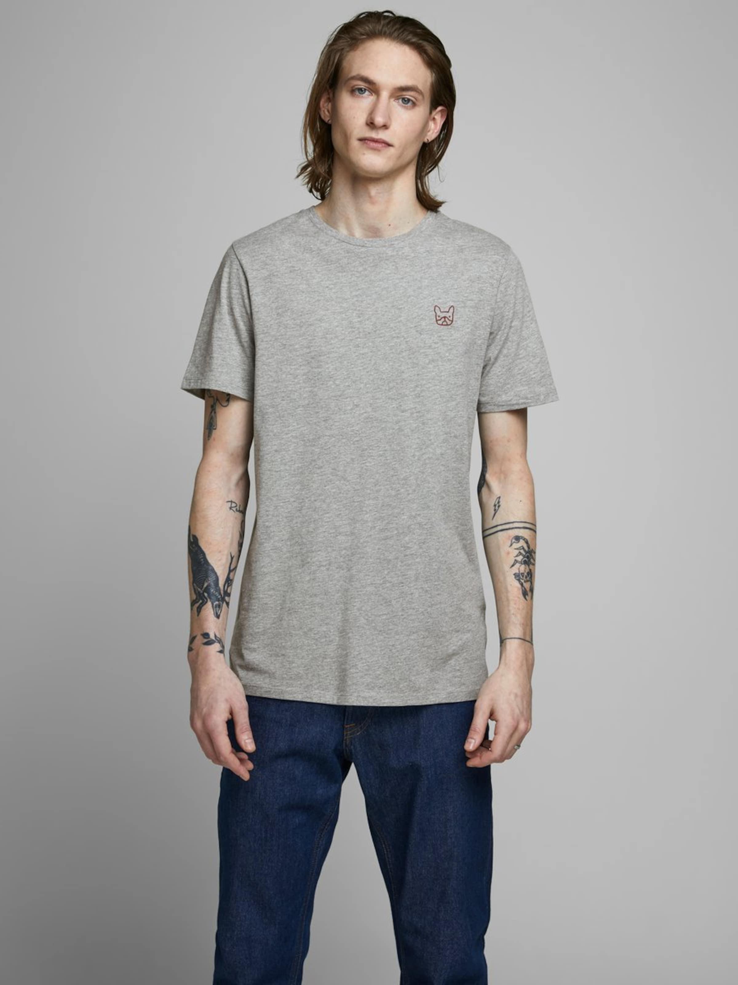 JACK & JONES T-Shirt in grau Gerader Schnitt 5714503001345