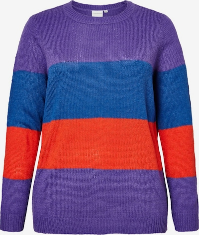 Junarose Pullover in blau / neonlila / hellrot, Produktansicht