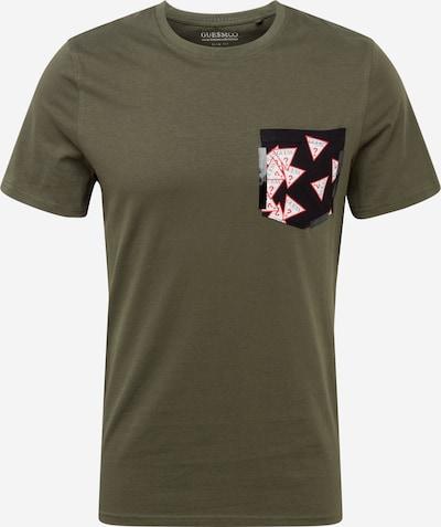 GUESS Shirt in khaki / rot / schwarz / weiß, Produktansicht