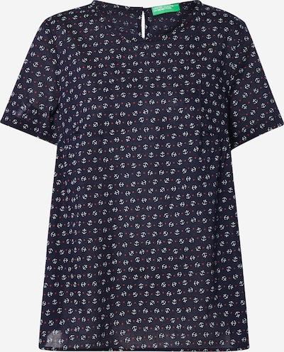 UNITED COLORS OF BENETTON Bluse in dunkelblau / weiß, Produktansicht