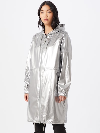 RAINS Regenmantel 'Long W Jacket' in silber, Modelansicht