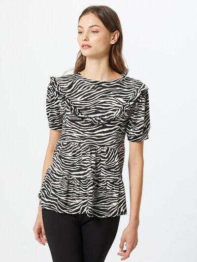 River Island T-shirt 'CHEVRON FRILL' en noir / blanc: Vue de face