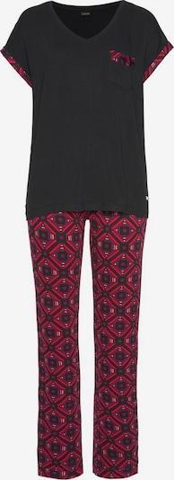 LASCANA Pyjama in rosa / eosin / cranberry / schwarz: Frontalansicht