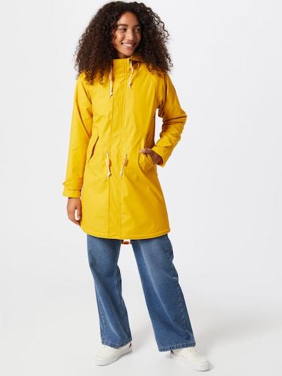 Derbe Płaszcz przejściowy 'Travel Cozy Friese RC' w kolorze żółtym: Widok z przodu