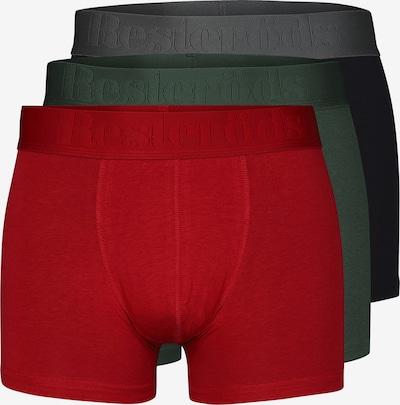 Resteröds Trunks 'GUNNAR' in smaragd / feuerrot / schwarz, Produktansicht
