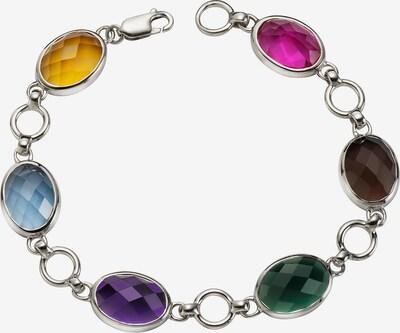 Jamelli Armband in dunkelbraun / dunkelgelb / dunkelgrün / dunkellila / silber, Produktansicht
