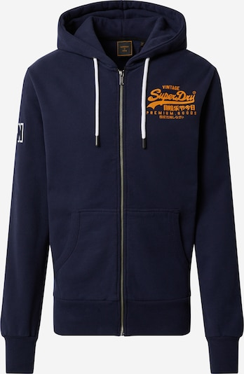 Superdry Sweatvest 'EMBOSS' in de kleur Navy / Sinaasappel / Wit, Productweergave