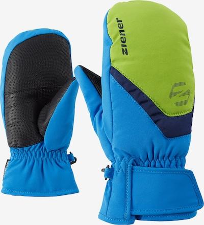 ZIENER Skihandschuhe 'LORIAN MITTEN glove junior' in blau / grasgrün, Produktansicht