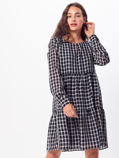 PIECES Kleid 'PCLIA LS DRESS D2D' in schwarz / weiß: Frontalansicht