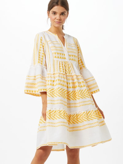 TOM TAILOR Kleid in gelb / weiß, Modelansicht